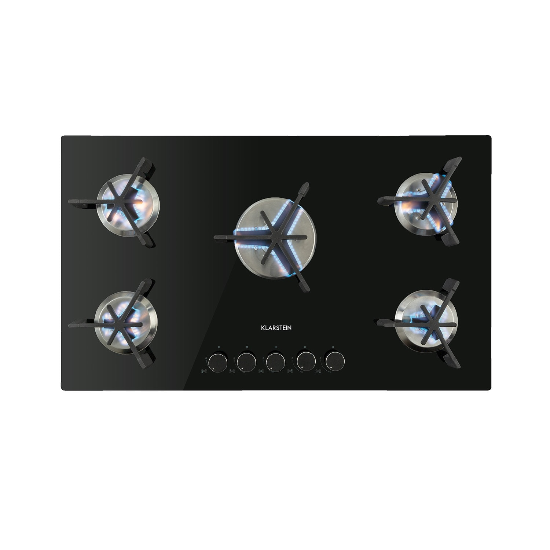 Klarstein Trifecta 5, plynová varná deska, 5 trojúhelníkových hořáků, sklokeramika, černá