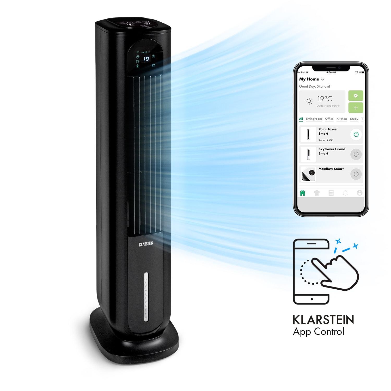 Klarstein Polar Tower Smart, ventilátor, ochladzovač vzduchu, 7L, 85W, diaľkový ovládač, 5x chladiace boxy