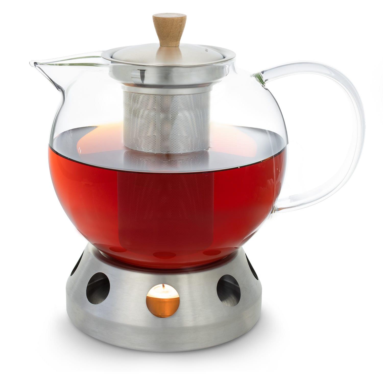 Klarstein Sencha, dizajnová kanvica na čaj, s ohrievačom Hibiscus z ušľachtilej ocele, 1,3 l, vkladacie sitko