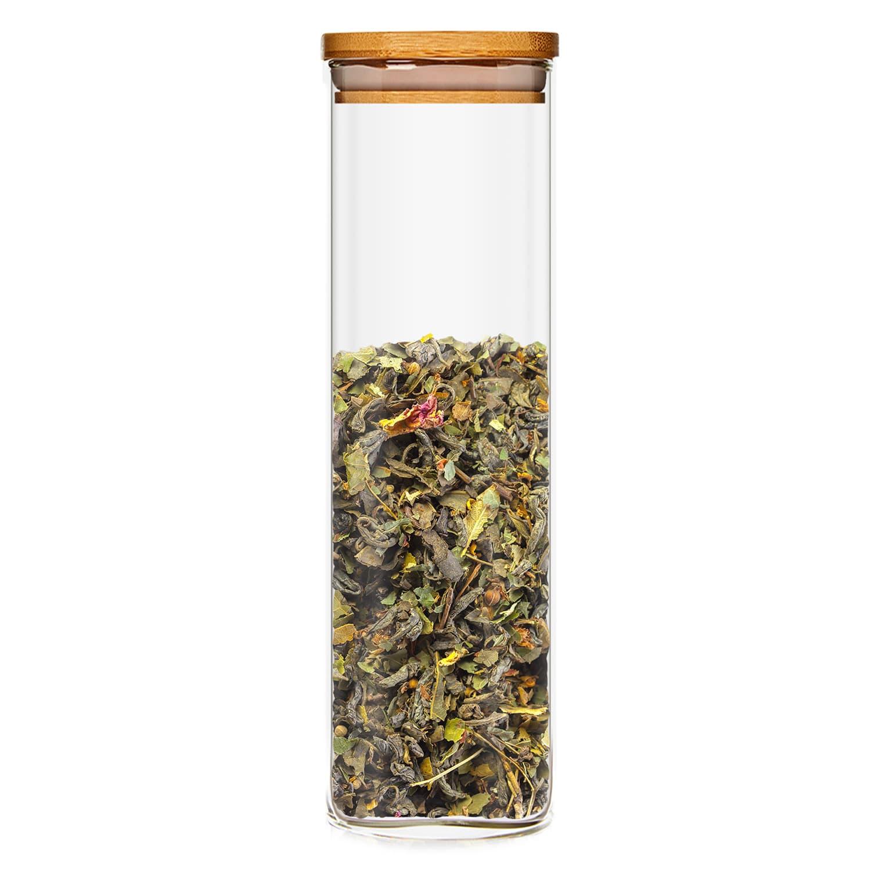Klarstein Hranatá nádoba skladovanie potravín s bambusovým vrchnákom, vzduchotesná, so silikónovým tesnením, 10 × 25 × 10 cm