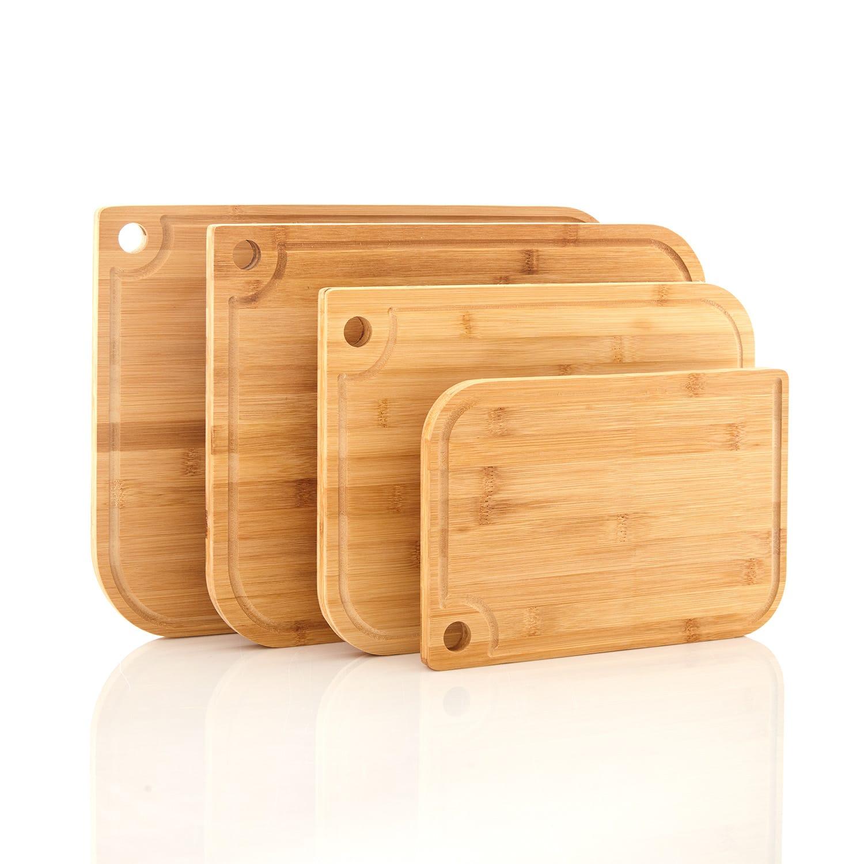 Klarstein Batvik, doska na krájanie, 4 dielna súprava, šetrné k nožom, drážka na šťavu, bambus