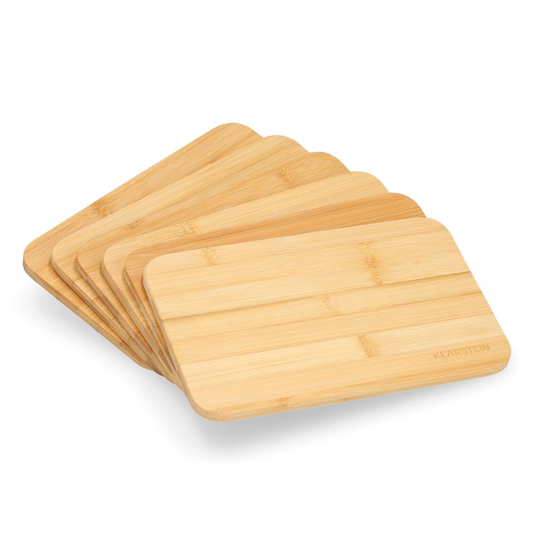 Klarstein Raňajkové doštičky, dosky na krájanie, 6 dielna súprava, každá 20x1x14 cm (Š x V x H), neošetrený bambus