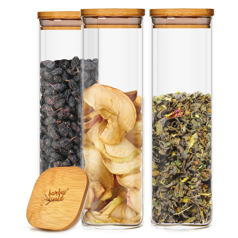 Klarstein Hranatá nádoba na skladovanie potravín s bambusovým vrchnákom, vzduchotesná, so silikónovým tesnením, 10 × 25 × 10 cm, 3 × 2000 ml