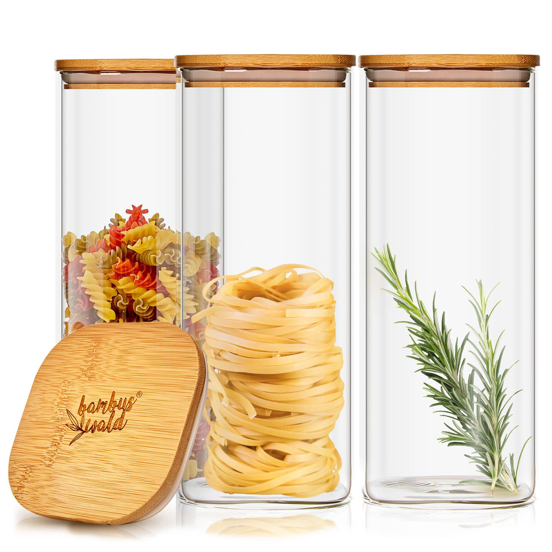 Klarstein Hranatá nádoba na skladovanie potravín s bambusovým vrchnákom, vzduchotesná, so silikónovým tesnením, 10 × 20,5 × 10 cm, 3 × 1500 ml