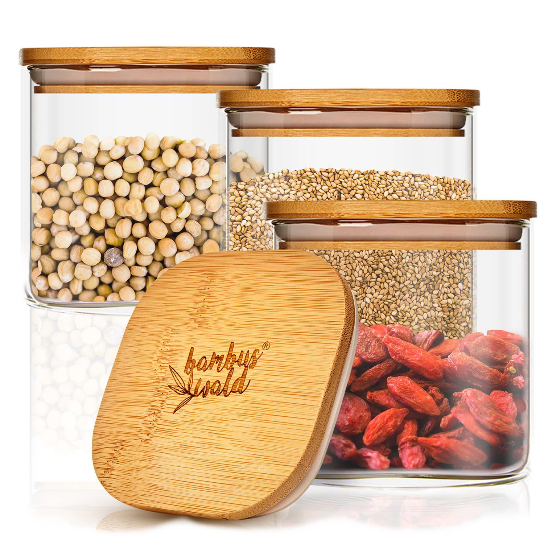 Klarstein Hranatá nádoba na skladovanie potravín s bambusovým vrchnákom, vzduchotesná, so silikónovým tesnením, 10 × 10 × 10 cm, 3 × 700 ml