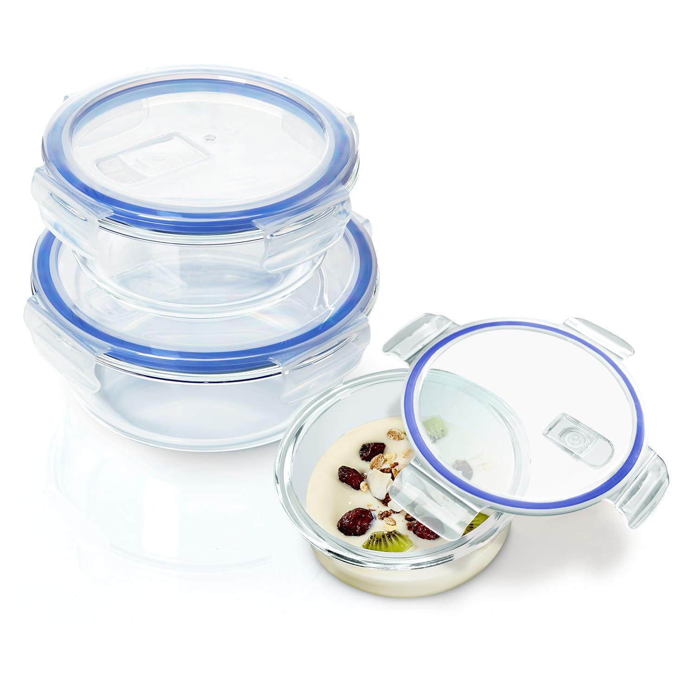 Klarstein Okrúhle sklenené dózy, 950 ml, 620 ml, 400 ml, s vrchnákom, mrazuvzdorné, nepretekajúce