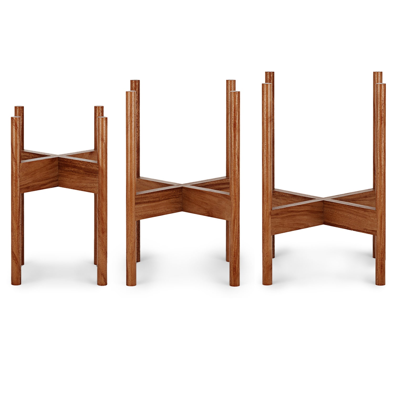 Blumfeldt Zeist, stojany na květiny, 3 dílná souprava, 2 výšky, pro květináče s Ø 21/26/30 cm, kombinovatelné, akáciové dřevo