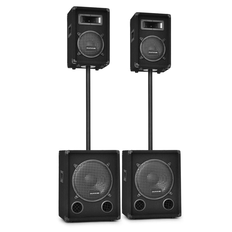 Malone 2.2 PA DJ Sound System Speakers & Subwoofer Set 2200W