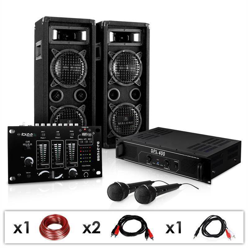 "Electronic-Star DJ set ""DJ-24M"", zesilovač, mixpult, repro, mikrofon,1200W"
