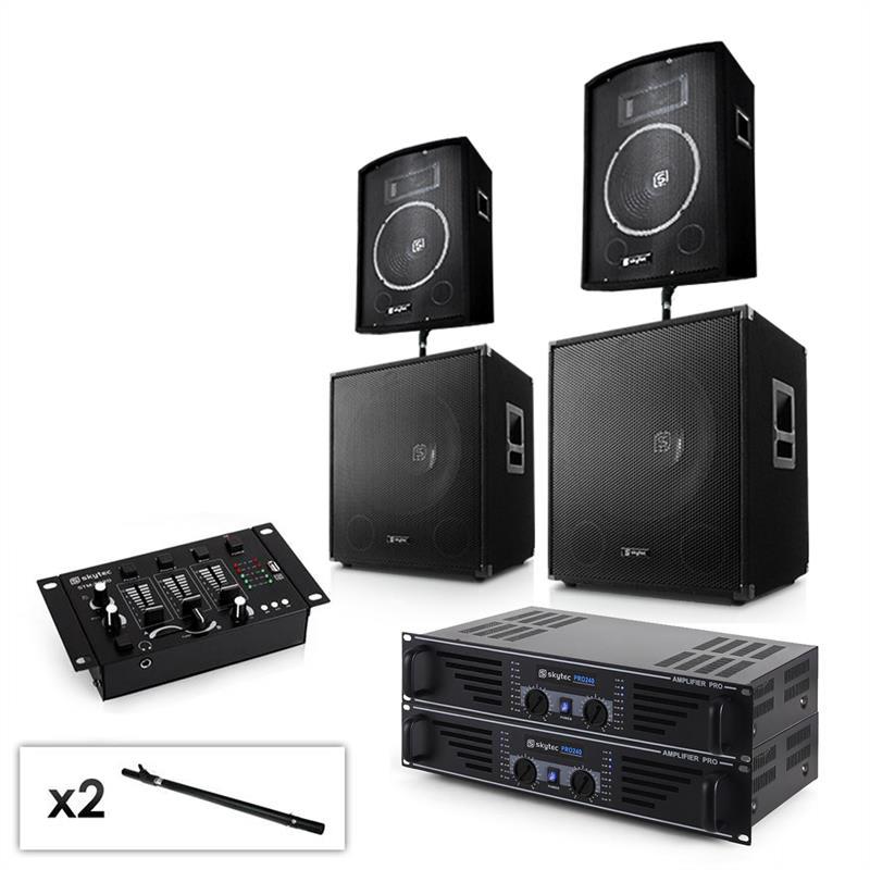 """Electronic-Star Sada 2.2 PA systému s 2x zesilovačem, 2x 15"""" subwooferem, 2x 10"""" reproduktorem, mixé"""