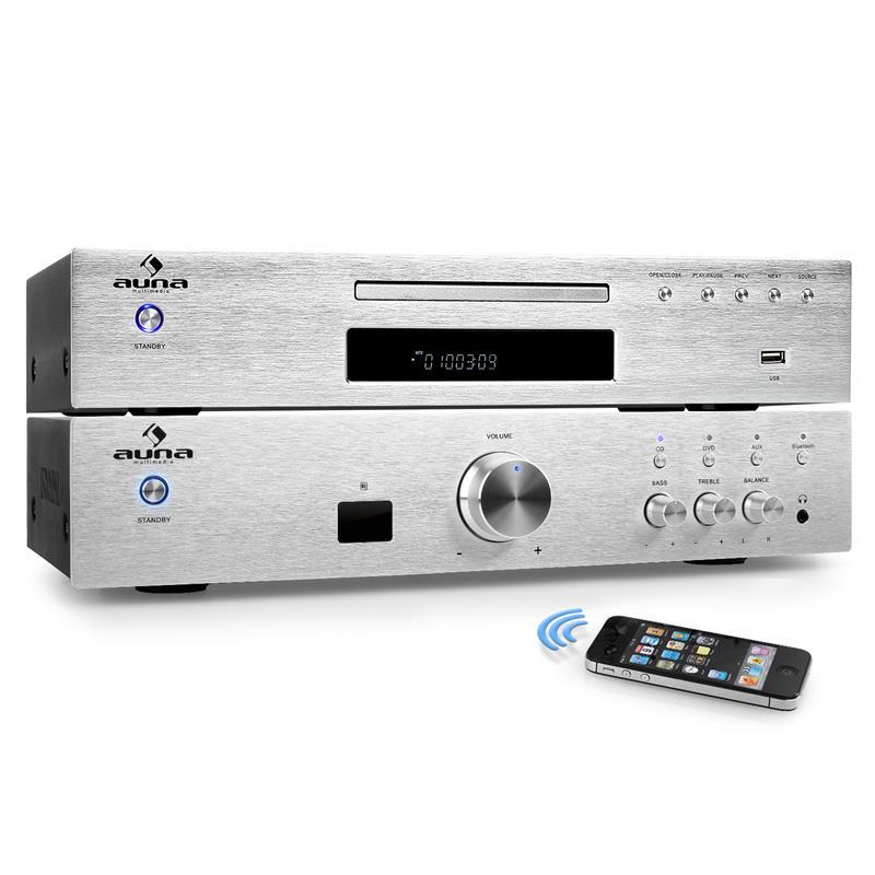 "Auna ""Elegance Tower Bluetooth"", stříbrná, 2.0 HiFi sestava, MP3 CD přehrávač + zesilovač 600 W"