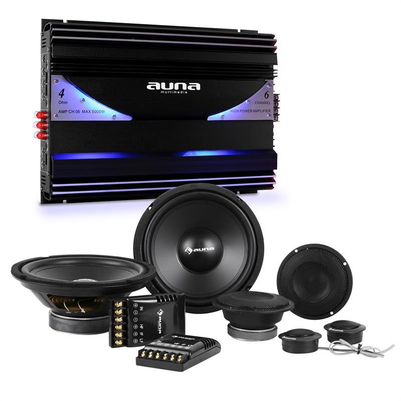 Auna CS Comp 8, Hi-Fi sestava do auta, sada reproduktorů / 6-kanálový koncový zesilovač