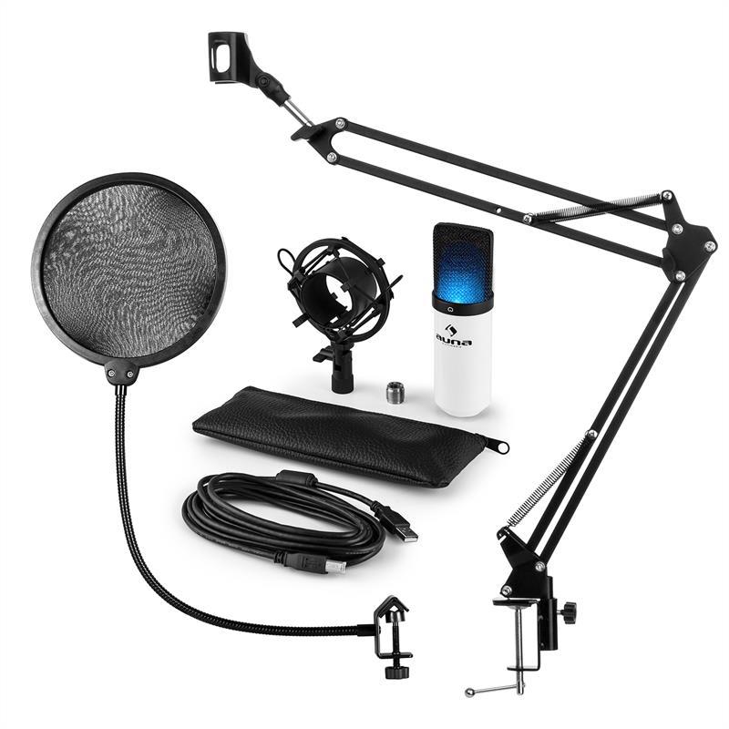 Auna MIC-900WH-LED, USB MIKROFONNÍ SADA V4, BÍLÁ kondenzátorové mikrofony, POP FILTER, mikrofonní rameno, LED