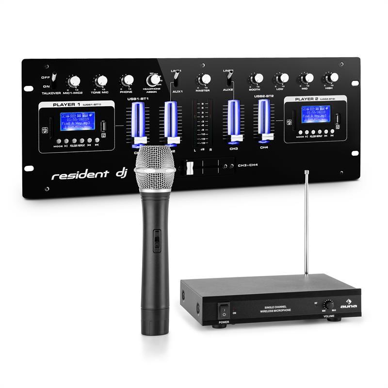 Resident DJ DJ405USB-BK, mixážní pult, včetně 1 kanálové VHF bezkabelové mikrofonní sady