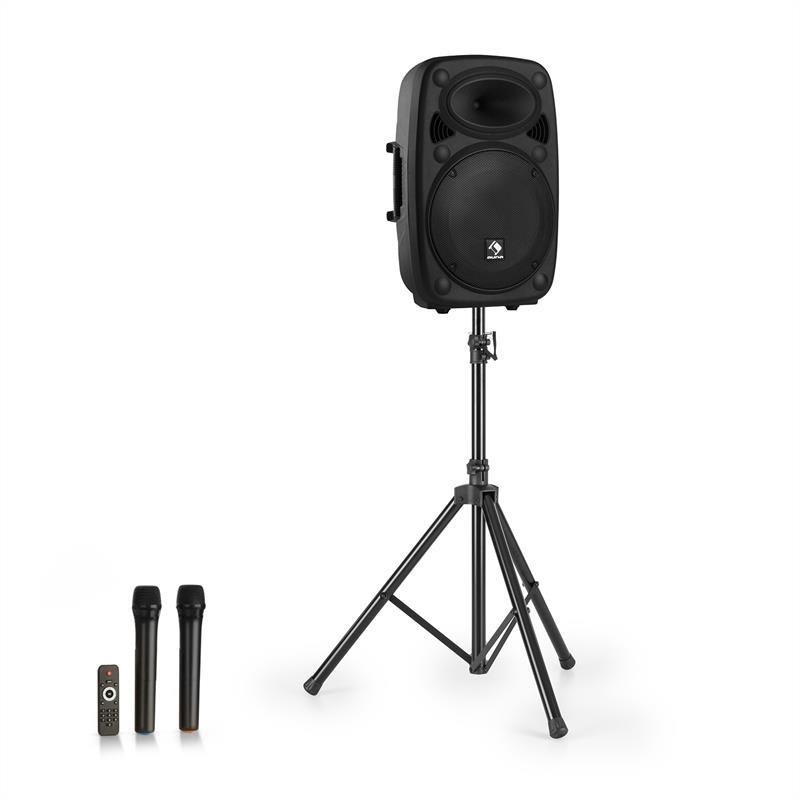 """Auna Streetstar 12, mobilní PA systém + stativ, 12"""" woofer, UHF mikrofon, 800 W max., černý"""