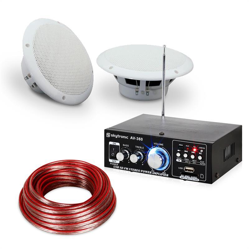 """Electronic-Star 4-dílná sada terasového a koupelnového zesilovače s reproduktory, 5 """", Speaker Sound Set 5"""" voděodolné"""