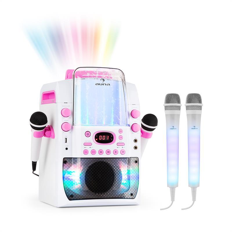 Auna Kara Liquida BT růžová barva + DAZZLE mikrofonní sada, karaoke zařízení, mikrofon, LED osvětlen