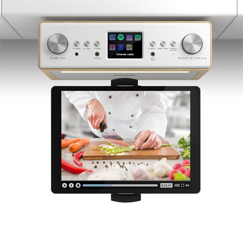 """Auna Connect Soundchef, kuchyňské rádio s držákem na tablet, set, DAB +, FM, 2x3 """", buk"""