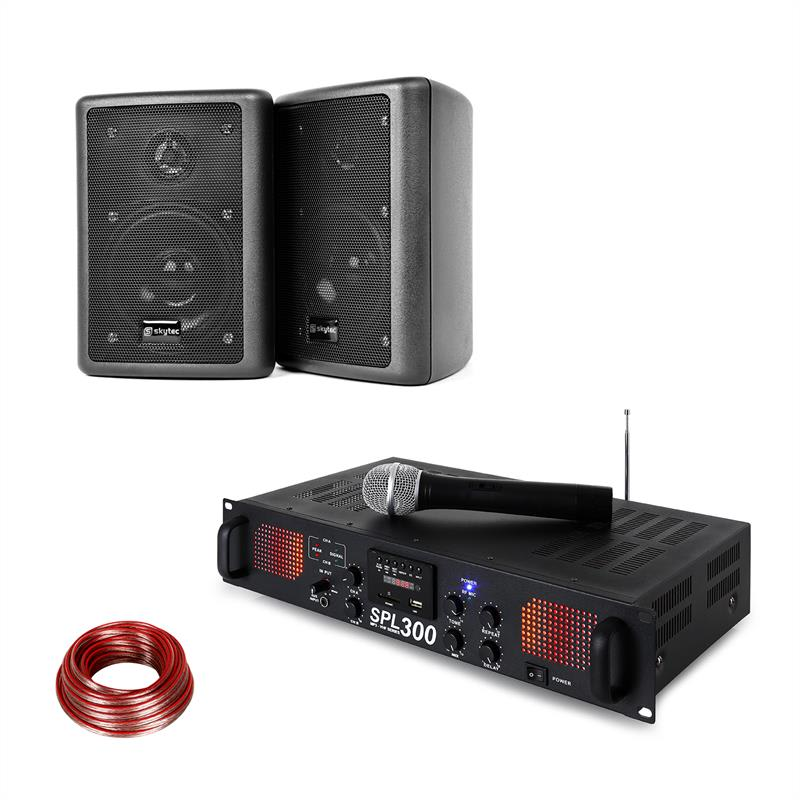 Skytec SPL 300 VHF, sada s PA zesilovačem, 2 reproduktory, reproduktorový kabel, černá