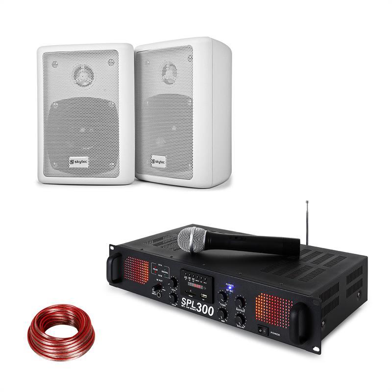 Skytec SPL 300 VHF, sada s PA zesilovačem, 2 reproduktory, reproduktorový kabel, bílá