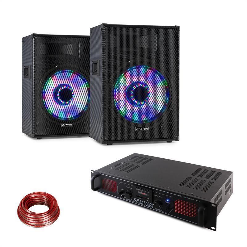 LED15BT, DJ PA sada, 2x PA reproduktor Fenton, HiFi zesilovač Skytec, reproduktorový kabel