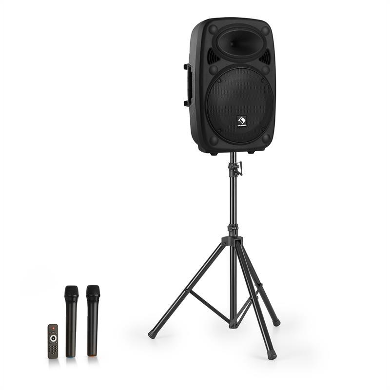 """Auna Streetstar 15, mobilní PA systém + stativ, 15"""" woofer, UHF mikrofon, 1000 W, černý"""