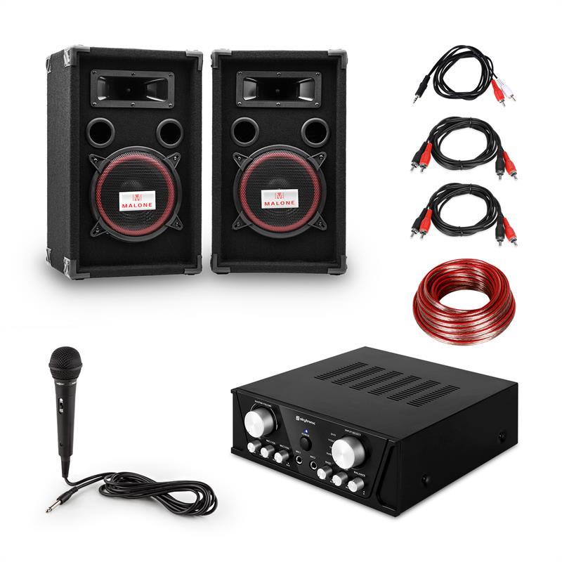 Electronic-Star Easy DJ Set Black, PA systém, PA zesilovač, 2 x reproduktor, mikrofon, černý