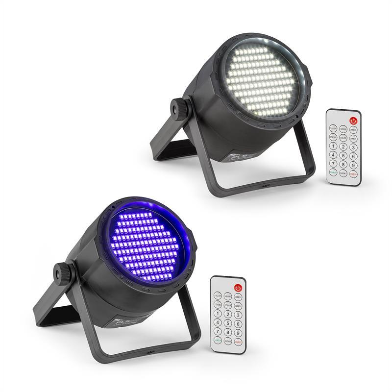 Beamz PLS15, sada V6, LED stroboskop PLS20, UV PAR LED reflektor