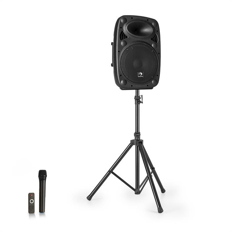 """Auna Streetstar 10, mobilní PA systém + stativ, 10"""" woofer, UHF mikrofon, 400 W, černý"""