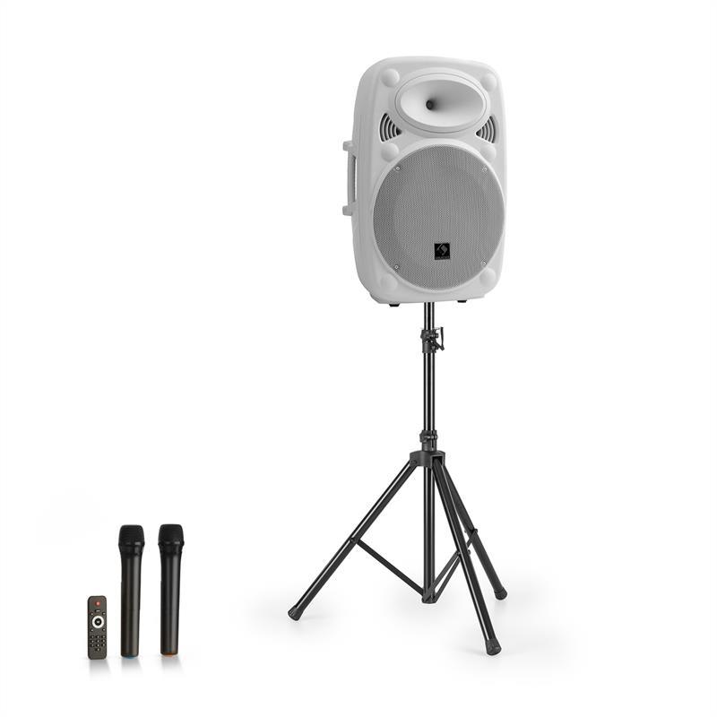 """Auna Streetstar 15, mobilní PA systém + stativ, 15"""" woofer, UHF mikrofon, 1000 W, bílý"""