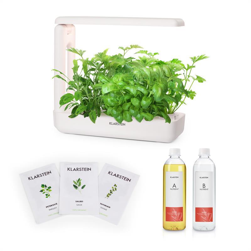 Klarstein GrowIt Cuisine Starter Kit Europa, 10 priesad, 25 W LED, 2 l, Europe Seeds, živný roztok