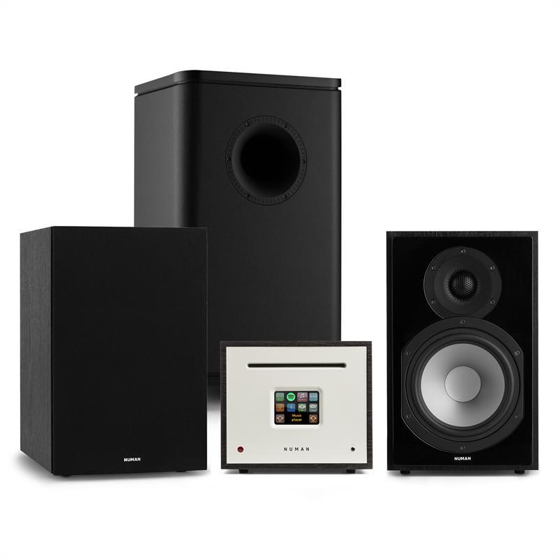 Numan Unison Reference 802 Edition, stereo systém, zesilovač, reproduktory, černá