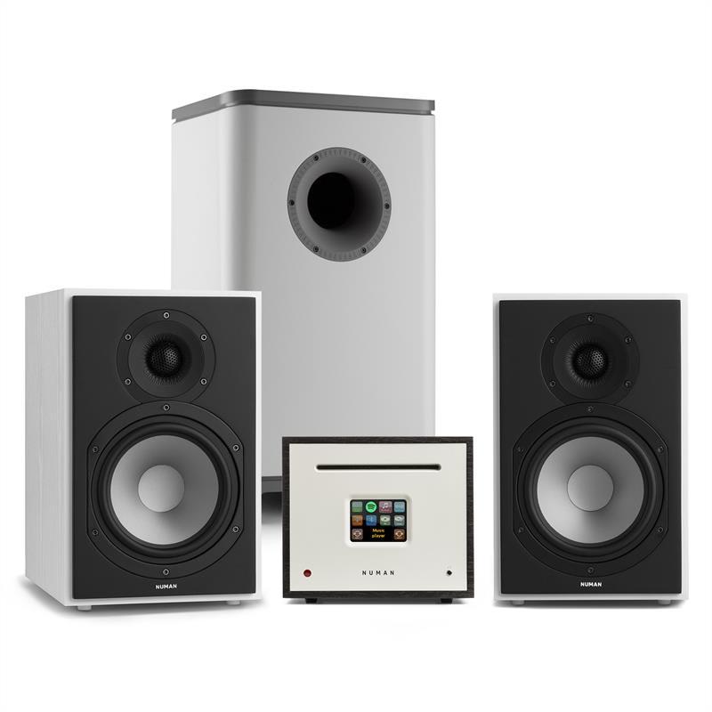 Numan Unison Reference 802 Edition, stereo systém, zesilovač, reproduktory, bílá/šedá/černá