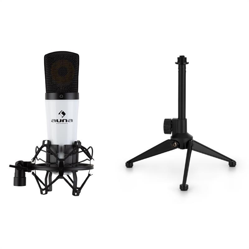 Auna MIC-920, USB mikrofonní sada V1, kondenzátorový mikrofon, stojan na mikrofon, bílý