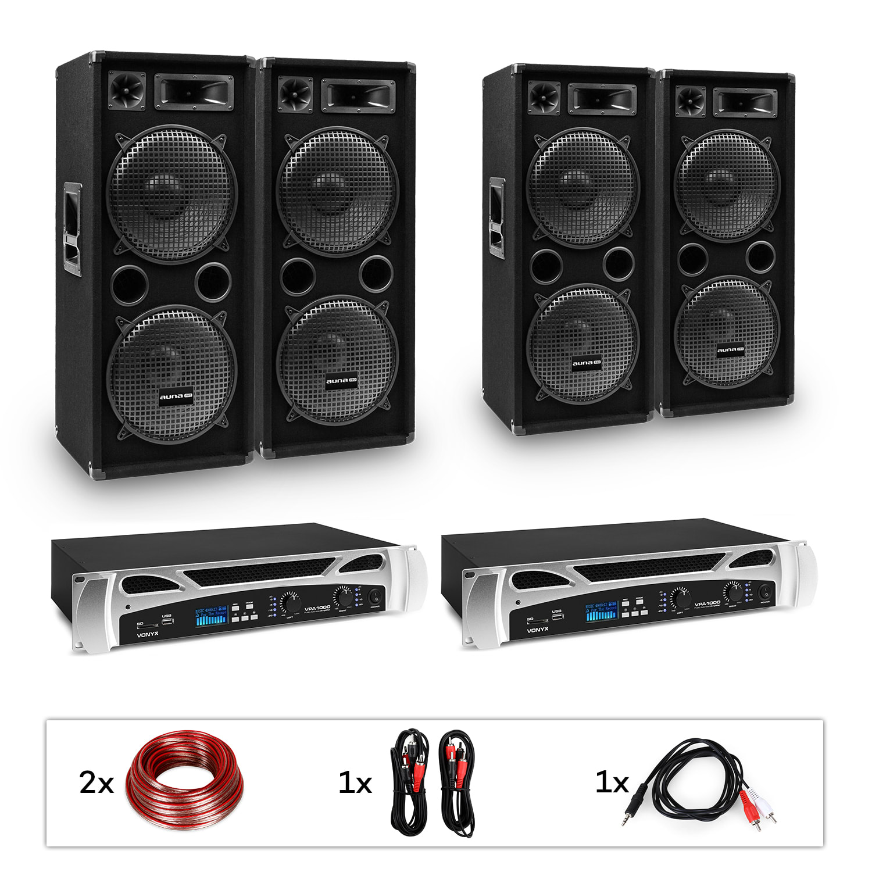 "Electronic-Star estar Bangkok Rhythm Pro, DJ systém, sada, PA zesilovač, 2 x 500 W, 4 x subwoofer, 2 x 12"""
