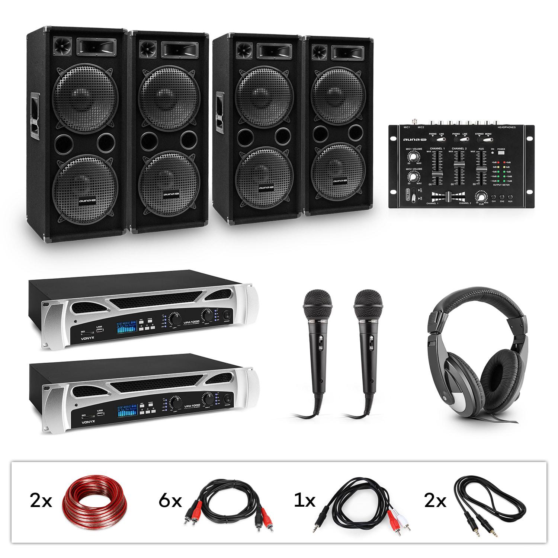 Electronic-Star eStar Bass-Party, DJ systém, sada, 2 x PA zesilovač, DJ mixér, 4 x subwoofer, sluchátka