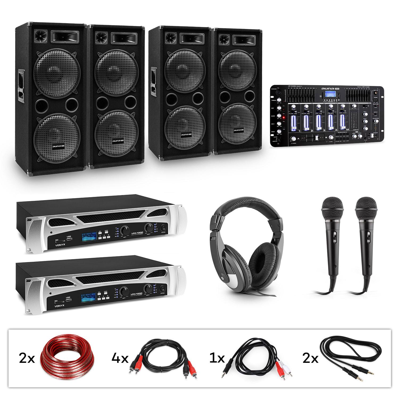 Electronic-Star eStar Bass-Party Pro, DJ systém, sada, 2 x PA zesilovač, DJ mixér, 4 x subwoofer