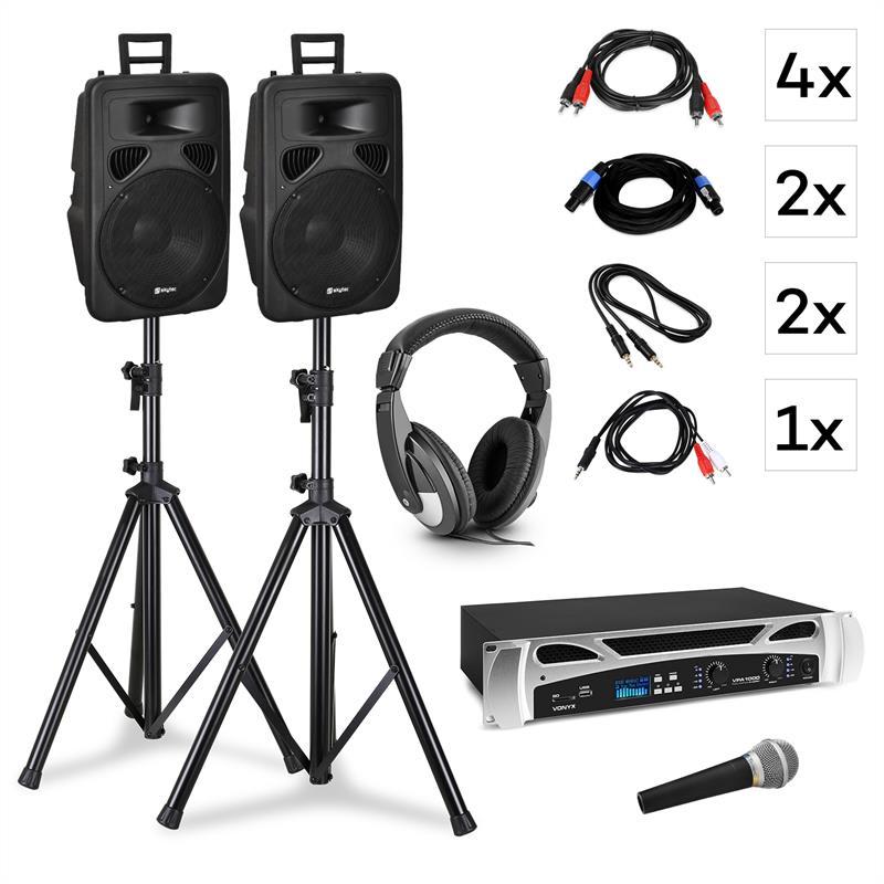 Vonyx Singapore, DJ systém, set, PA zesilovač 2x500 W, 2x2 pásmový reproduktor