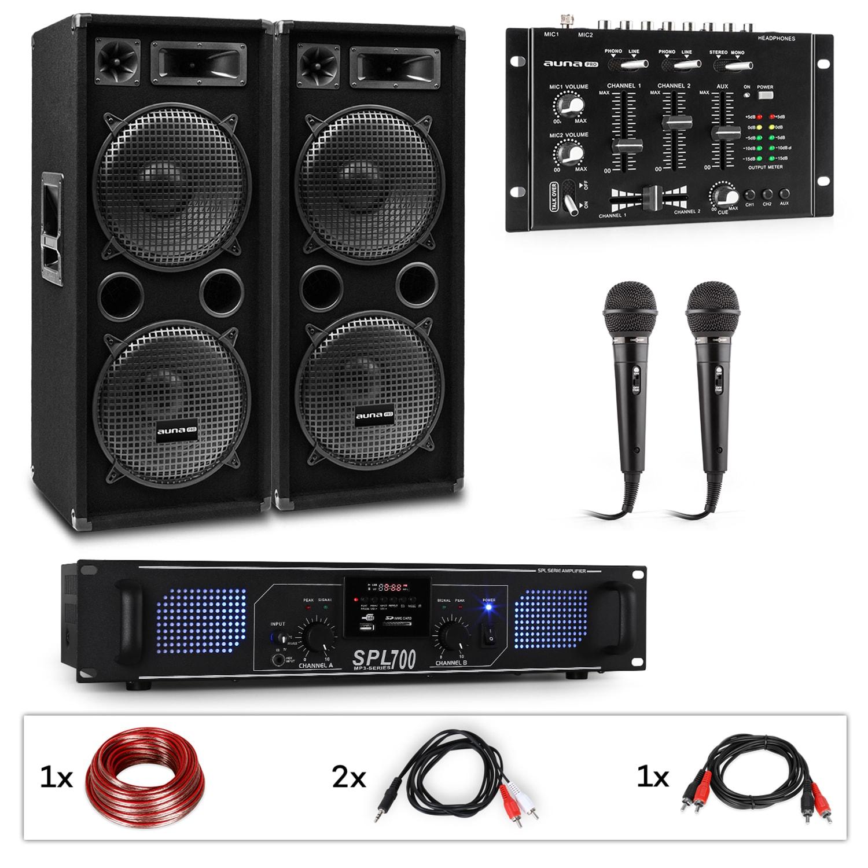Auna Pro PW-2222 MKII, PA karaoke sada, zesilovač, 2 pasivní PA reproduktory, mixér, 2 mikrofony