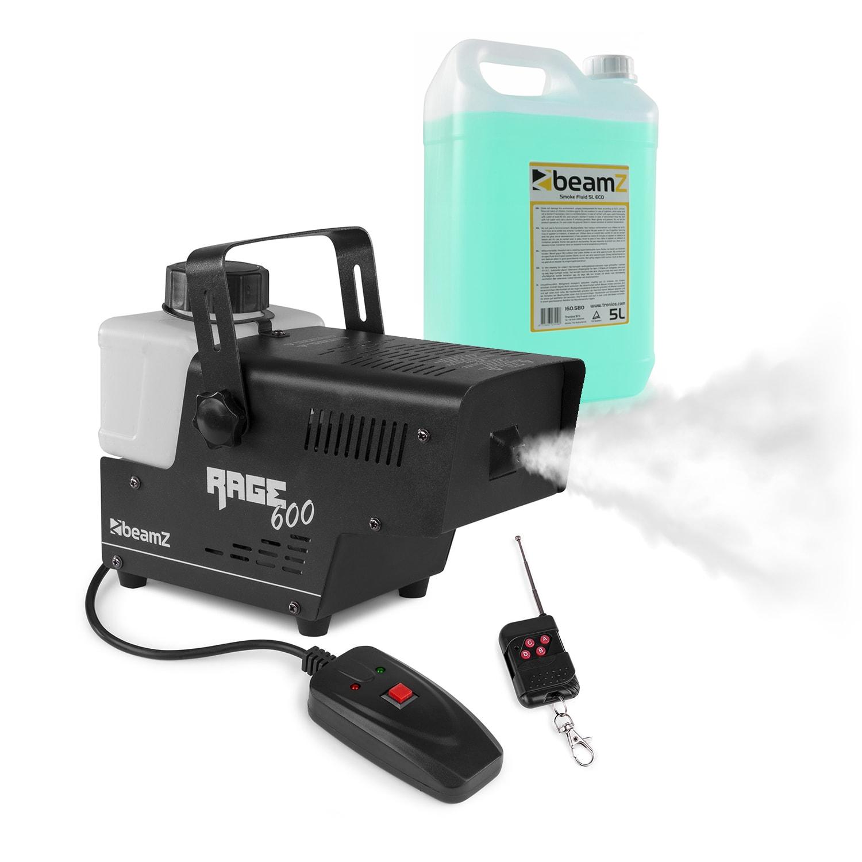 Beamz Rage 600, výrobník mlhy, včetně mlžné tekutiny, 600 W, 65 m³/min., 0,5 l