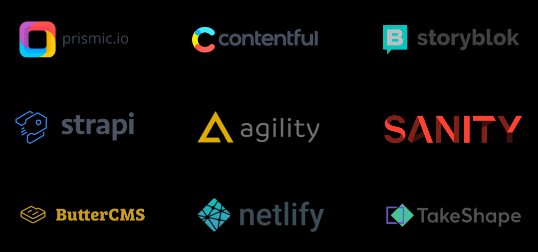 This is an image showcasing list of popular Headless CMS providers that can be used for Next js development