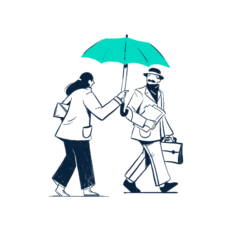 Woman holding an umbrella for a man