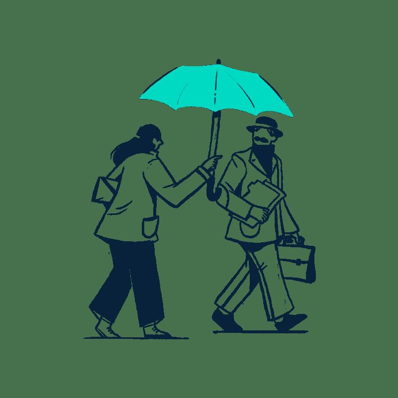 Woman holding an umbrella for a man