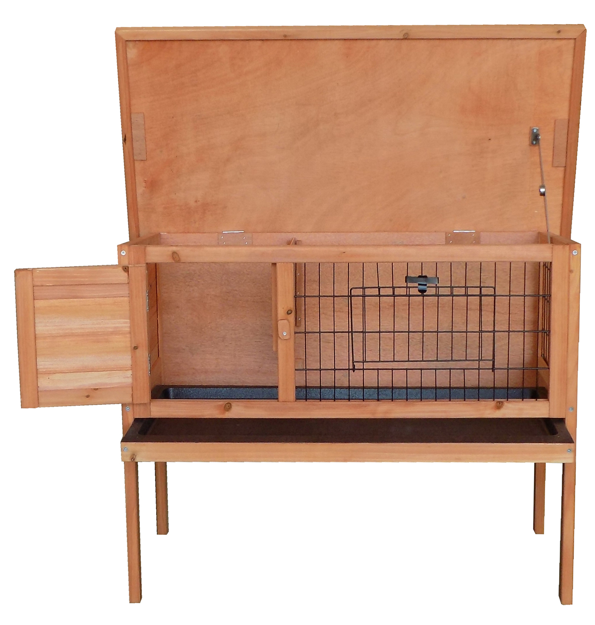 Charles-Bentley-Wooden-Raised-Rabbit-Hutch-Guinea-Pig-Cage-Run-w-Cleaning-Tray miniatura 8