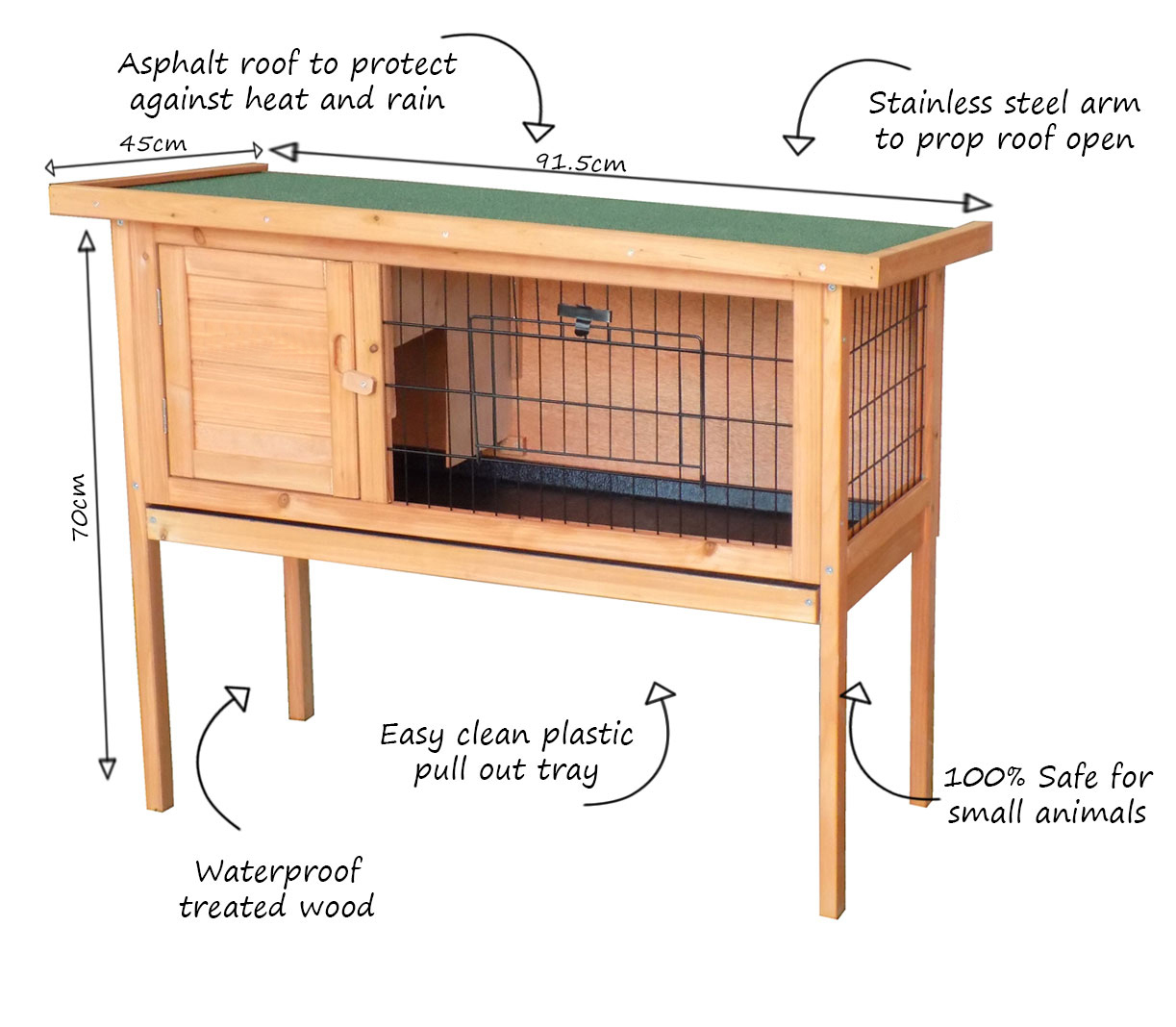 Charles-Bentley-Wooden-Raised-Rabbit-Hutch-Guinea-Pig-Cage-Run-w-Cleaning-Tray miniatura 9