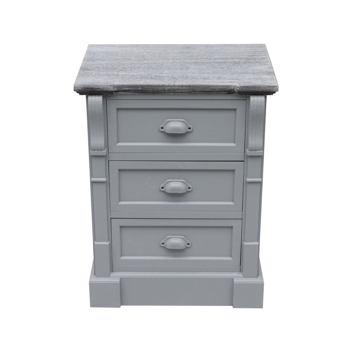 Details About Charles Bentley Shabby Chic 3 Drawer Bedside Table In Grey Made Of Mdf