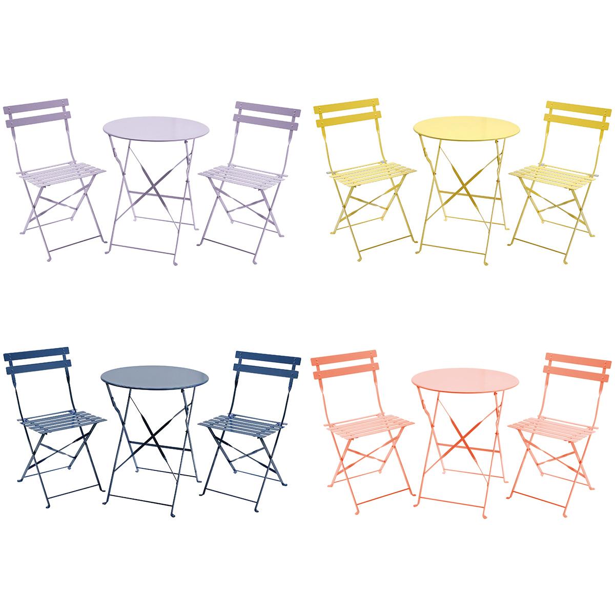 Détails sur Salon de jardin pliable 3 pièces - table ronde/2 chaises -  style bistro - métal