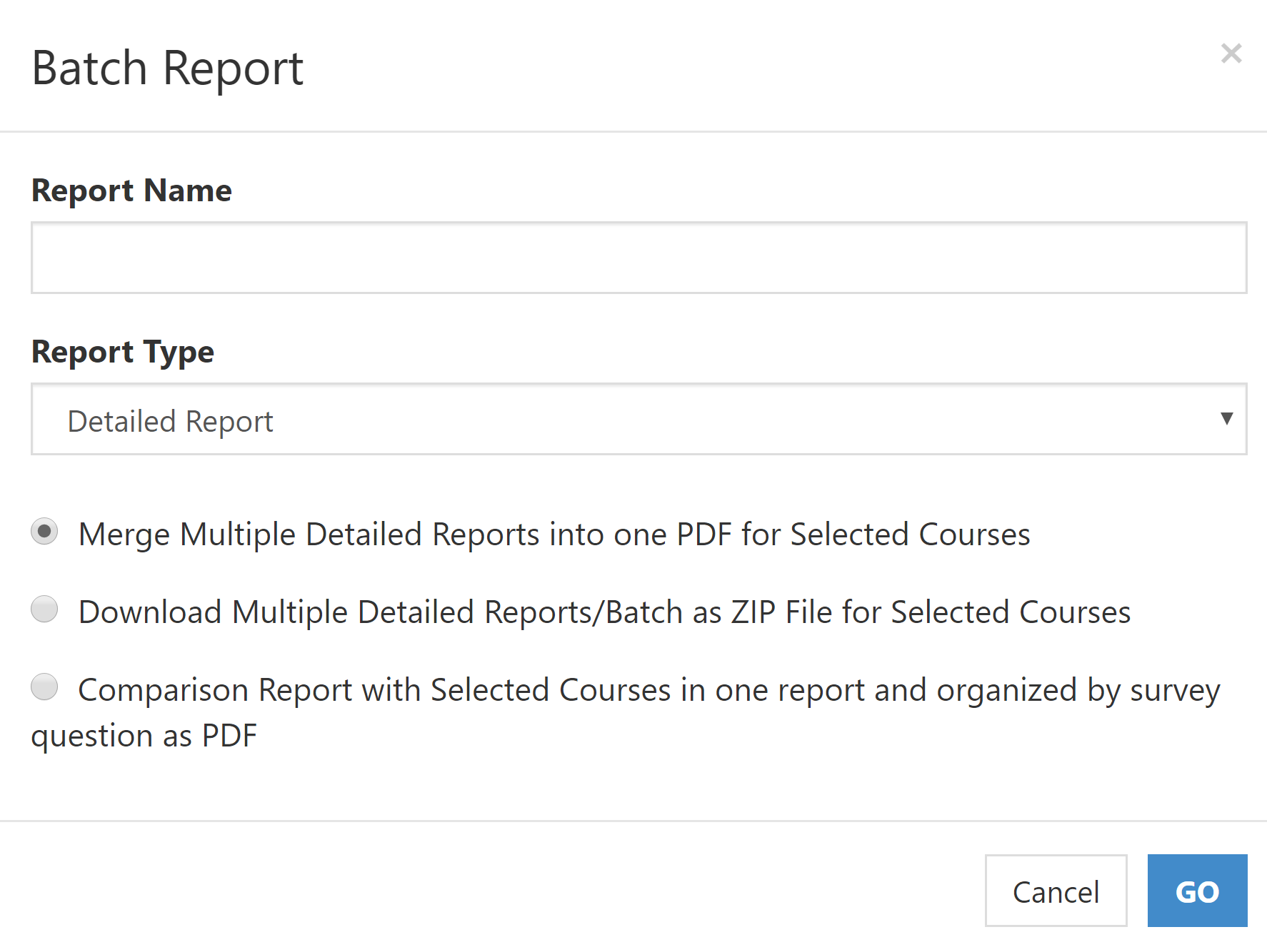 Graphic of Batch Report Window