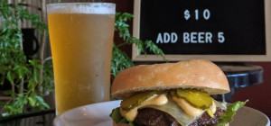 $10 Bagel cheeseburger at BARK Subiaco