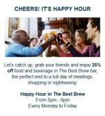 25% Happy Hour at The Best Brew Restaurant & Bar
